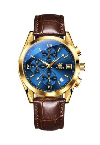 OLEVS brown Olevs Grand Lumino Men Chronograph Wrist Watch 592DDAC1CD3E67GS_1