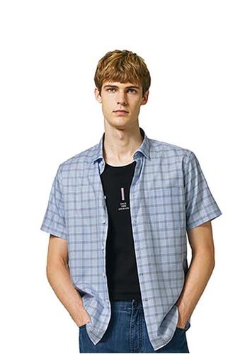 Goldlion blue Goldlion Casual Trim Fit Short-Sleeved Shirt B4A53AA50E6105GS_1