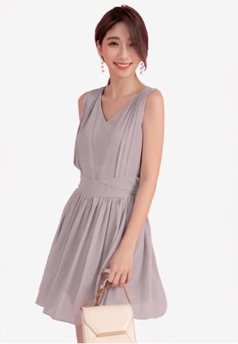 Eyescream grey Pleated Flare Dress 47212AA724E6EDGS_1