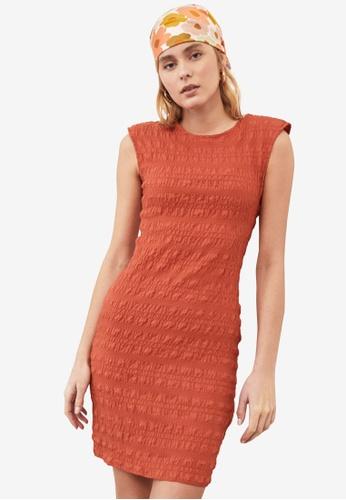 Trendyol red Padded Shoulder Textured Dress EB48DAA58FF5FBGS_1