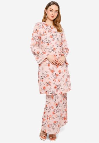 Era Maya orange Plum Blossom Floral Prints Baju Kurung Moden Cotton 60C80AA9590C79GS_1
