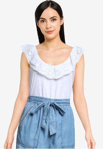 Springfield 白色 刺繡Neckline上衣 C57B6AA4D07A20GS_1