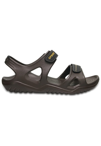 Crocs brown Men's Swiftwater River Sandals Esp/Blk CR883SH0RCDTMY_1