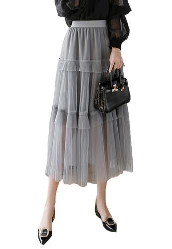 Halo grey Layered Net Yarn Skirt 0A8D3AA3D1F730GS_1