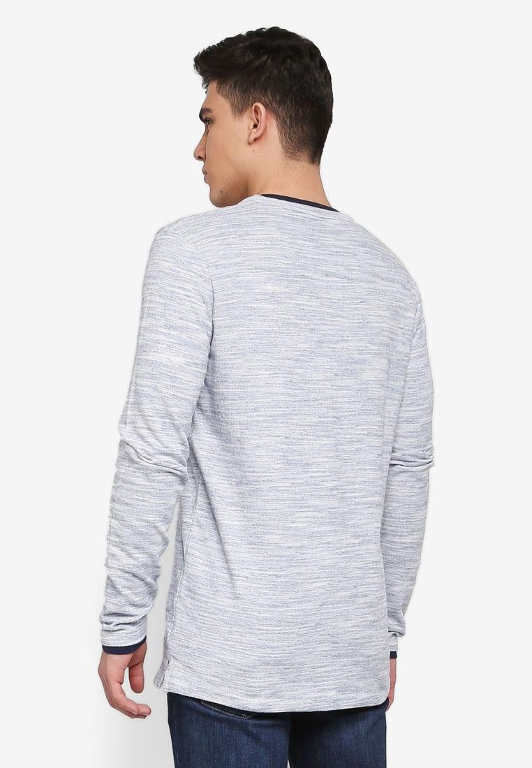 Ander Grey Grandad T Melange Indicode Long Shirt Navy Sleeve Jeans PxqPvwr