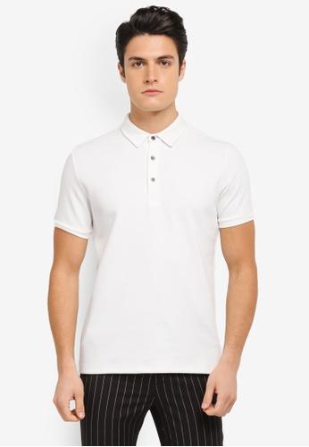 ZALORA white Contrast Button Stitch Rib Polo Shirt 0276EAA691901AGS_1