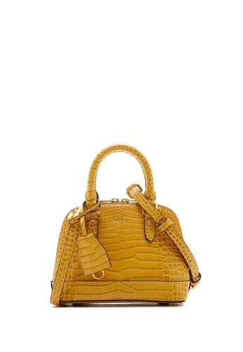 BONIA yellow Dark Yellow Regina Zoey Croco Satchel Petite 3A753ACF8EA46EGS_1