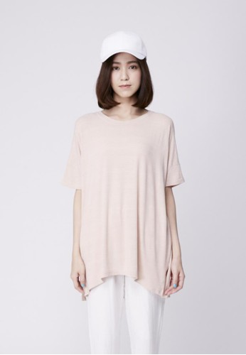 彈性棉裂紋寬版上衣, 服飾,esprit官網 T恤