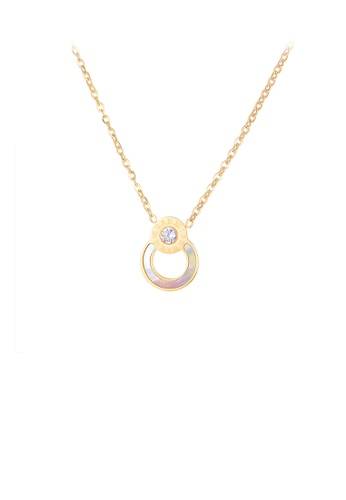 Glamorousky white Simple Temperament Plated Gold Roman Numerals Geometric Round 316L Stainless Steel Pendant with Cubic Zirconia and Necklace AC4F1ACF368261GS_1