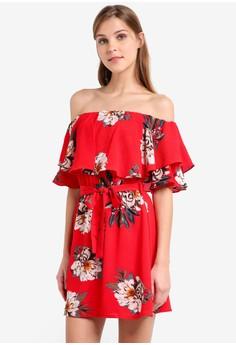 Image of Double Layer Mini Dress With Waist Sash