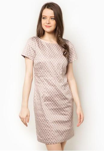 zalora 評價彈性印花短袖洋裝, 服飾, 洋裝