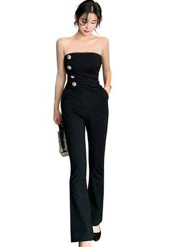 Sunnydaysweety black Korean Style Tube Top High Waist Jumpsuit A21022244 5EAC4AABF552F3GS_1