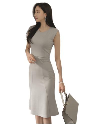 Sunnydaysweety grey S/S New Grey Sleeveless One Piece Dress UA060688 SU219AA32DCXSG_1