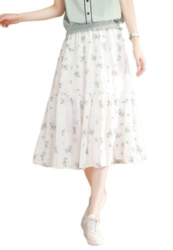 A-IN GIRLS white Elastic Waist Floral Skirt 132F4AAA21E6E0GS_1