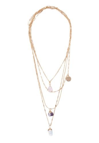 Godenzo 彩色寶石吊飾多股式項鍊, 飾品配件, zalora 鞋評價飾品配件