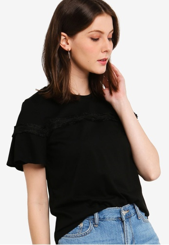 ZALORA black Trim Tee With Pleated Sleeves 78AB9AA9AD16FAGS_1