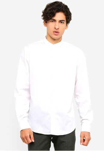 OVS 白色 長袖立領襯衫 11FB4AA0A5DFA4GS_1
