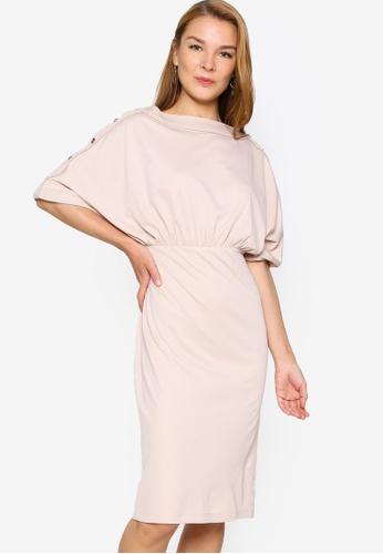 ZALORA WORK beige Buttons Detail Dolman Sleeves Knit Dress 76195AAC27EB0AGS_1