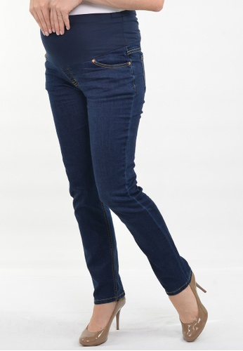 d031c5ccc1717 9months Maternity blue Indigo Maternity Full Panel Straight Leg Jeans  69761AACC060A4GS_1