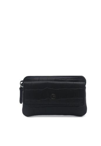 Goldlion black Textured Leather Coin Pouch D1673AC8FC9BB6GS_1