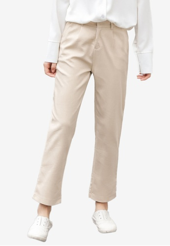 Shopsfashion beige Basic Straight Leg Pants 1F501AAF938460GS_1
