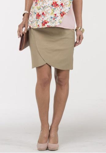 Bove by Spring Maternity beige Aine High Waist Tulip Skirt SP010AA57ASSSG_1