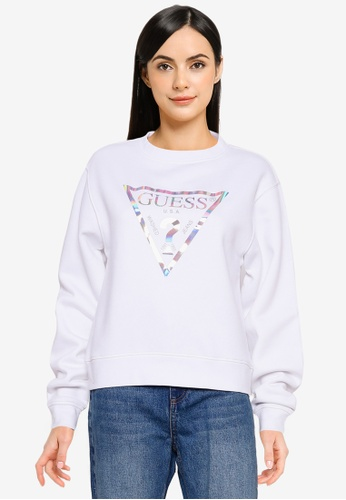 Guess white Laila Fleece Sweatshirt DB963AA8B1F353GS_1