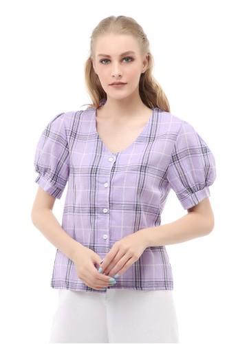 Hamlin purple Holly Atasan Kasual Kemeja Crop Top Wanita Lengan Pendek Material Cotton ORIGINAL - Purple 4391FAAEFDE155GS_1