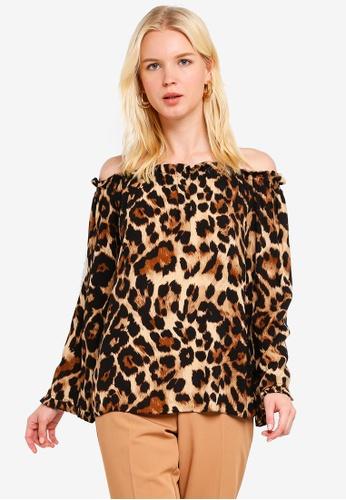 d83318c0a015 Dorothy Perkins brown Brown Leopard Print Flute Sleeve Bardot Top  23E2AAA57CD2E6GS_1