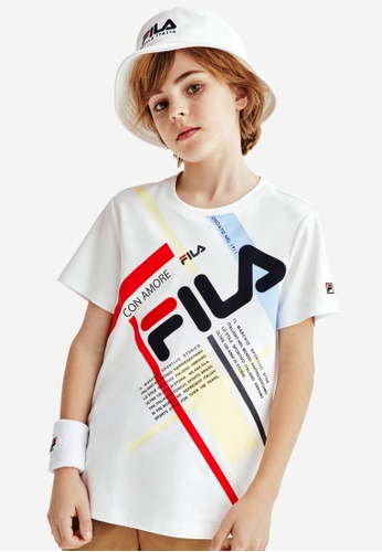 FILA white FILA KIDS Slash FILA Logo Color Blocks Cotton T-shirt 6-15yrs A683AKA261C237GS_1