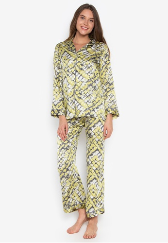 ce0da5a8a11c Sleepyhead yellow Quinn Printed Pajama Pants Set With Piping  7F0E0AAB129094GS 1