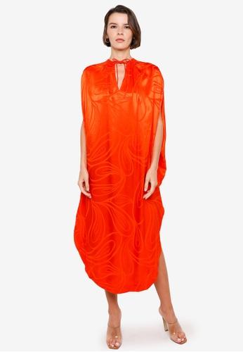 H&M orange and multi Jacquard-Patterned Kaftan 044F8AA033B1BFGS_1