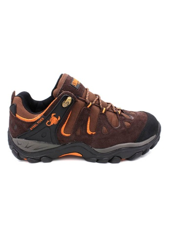 midzone brown SCORPION Suede Leather Steel Toe Safety Shoes MI949SH06TJXMY_1