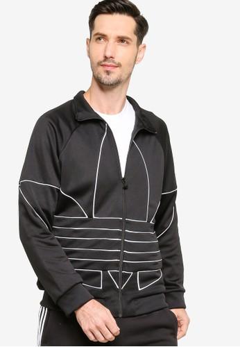 ADIDAS black big trefoil outline track jacket 7F71FAA677AA7DGS_1