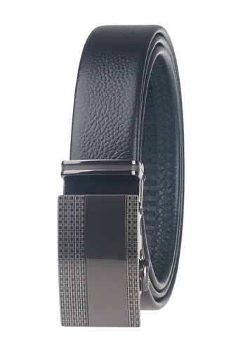 FANYU black Men Slide Buckle Automatic Ratchet Full Grain Leather Belt FA549AC27ZLOSG_1