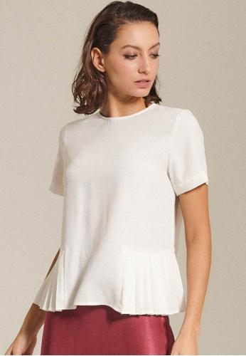 Dressing Paula white Pleated Crepe De Chine Top 014A0AA5ADF681GS_1