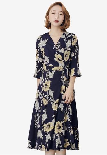 Kodz blue Floral Ruffle Sleeve Dress 89082AA5815C1DGS_1