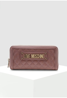7166be1b02ebc Love Moschino pink Quilted Zip Around Wallet EC535ACC63D1C7GS 1