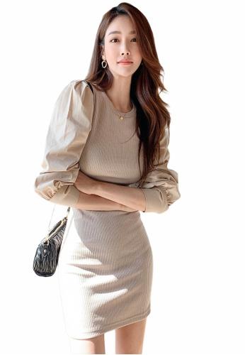 Crystal Korea Fashion beige Korean-made round neck slim stretch dress E3B55AA1A451FFGS_1