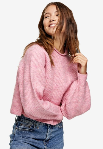 TOPSHOP pink Pink Cropped Knitted Jumper 3E7B9AA8B7AD8BGS_1