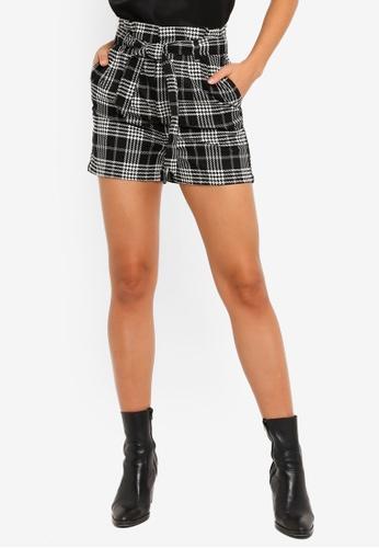 PIMKIE black Plaid Paperbag Shorts 35555AAD4F6E6CGS_1