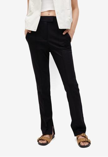 Mango black Slit Hem Trousers 08A01AA7E195DEGS_1