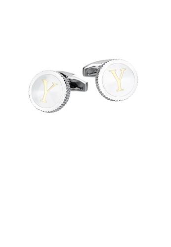 Glamorousky 銀色 時尚簡約英文字母Y圓形袖扣 C6134ACF4A41B4GS_1