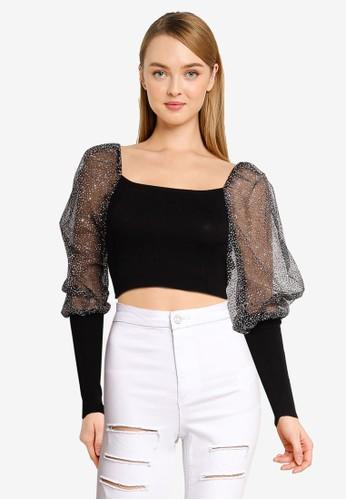 MISSGUIDED black Petite Glitter Puff Sleeve Top 1E044AAAB16905GS_1