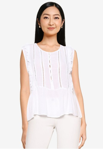 Brave Soul white Frill Sleeve Top With Front Lace Detail BCA81AACF77C4EGS_1