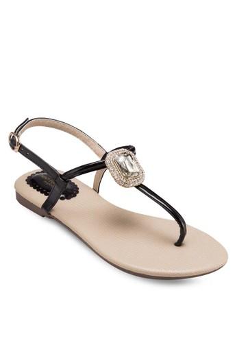鑽石夾腳平底涼鞋, 女esprit地址鞋, 涼鞋