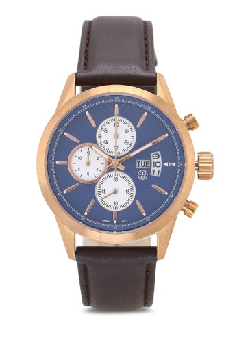 Massa Collections blue Nobler Leather Blue Rose Sapphire Glass Watch B201FAC8894E9AGS_1