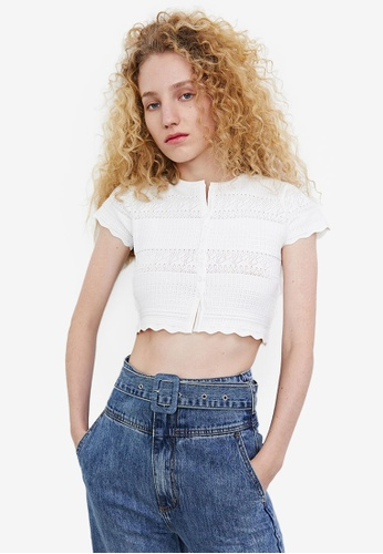 Urban Revivo white Open Knit Work Cropped Cardigan FB8D4AAEF117F5GS_1