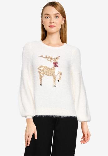 Brave Soul beige Sequin Deer Knitted Jumper A5AABAA5636DF7GS_1