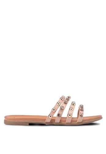 Nose beige Studded Stone Slide On Sandals 3F34FSHC9AF95DGS_1
